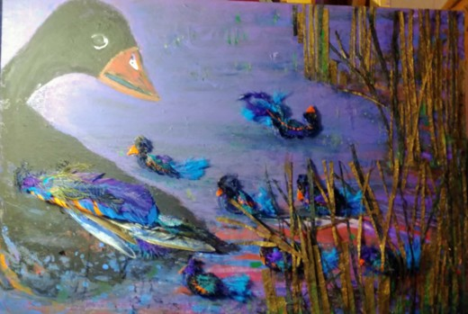 close up of collage using feathers depicting ducks on water.