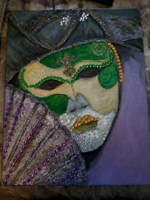 painting of a harlequin mask and a fan, with collaged gem-like elements.