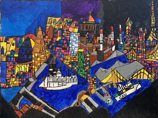 detailed painting made up of many small different colored squares, depicting a city on a waters edge with boats and bridges.