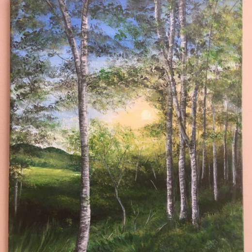 realistic painting of birch trees in a forest setting with sunlight streaming down.
