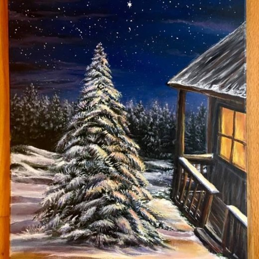 painting of a nighttime snowy scene of an evergreen tree next to a wooden cabin.
