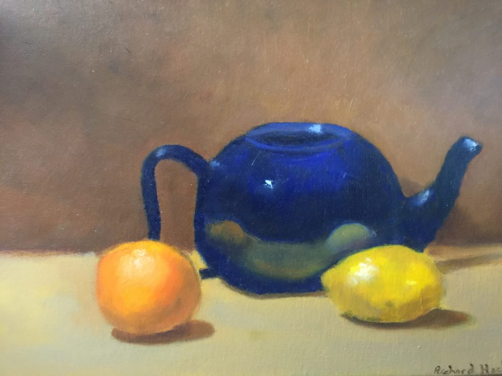 realist still-life painting of a short blue teapot with lemons.