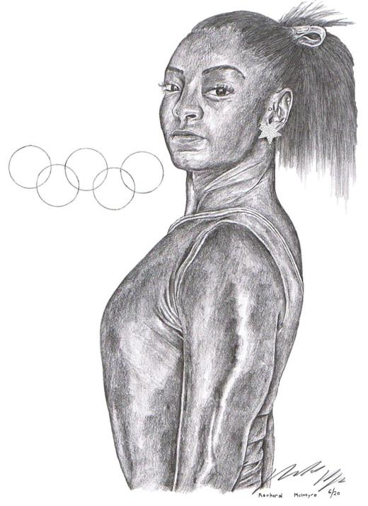 pencil drawing of gymnast Simone Biles wearing a leotard, star earring, with a bow keeping her hair in a high ponytail. The Olympic rings are drawn next to her.