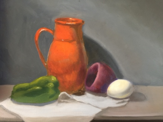 realist still-life painting of large orange vase with an egg and green pepper on a white tablecloth on a table.