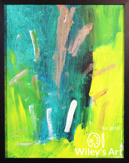 abstract painting with bluegreen and yellow background with small brown and white brushstrokes on top