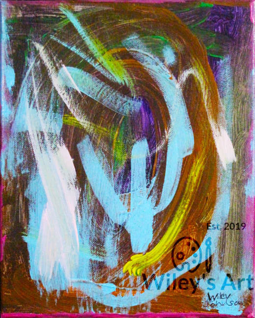 abstract painting with swirling brown and blue background with smaller blue and white swirling strokes on top.