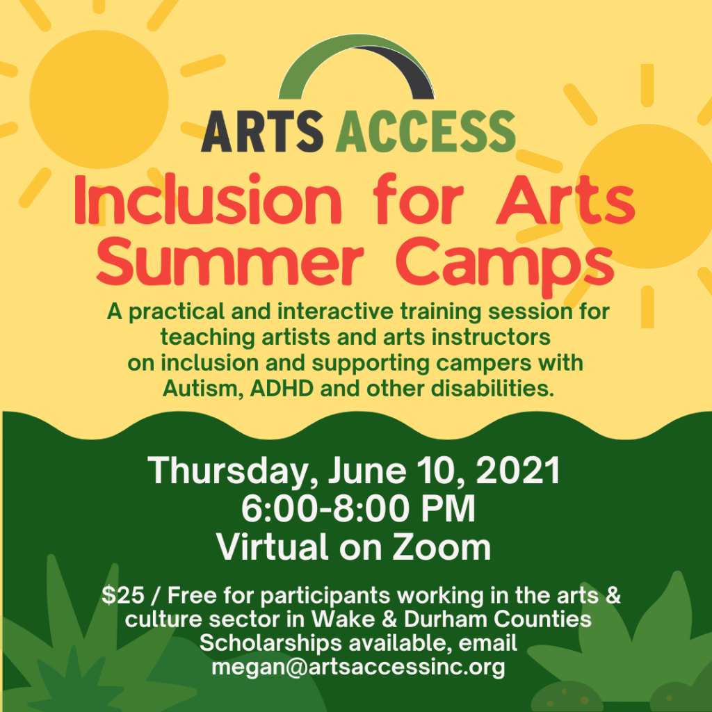 Promo images for Inclusion for Arts Summer Camps with illustrated sunshine and green grass.