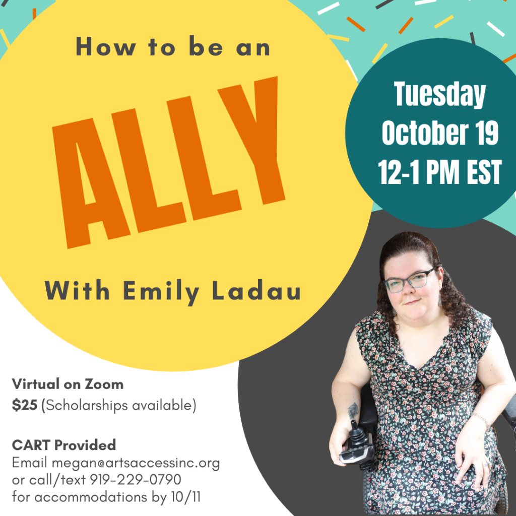 How to be an ally with Emily Ladau promo featuring a photo of Emily.